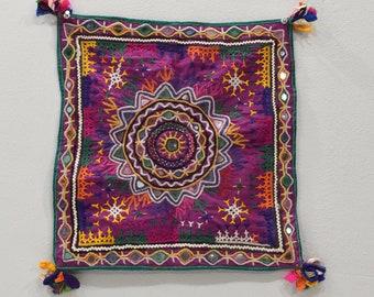India Textile Handmade Embroidered Mirror Textile