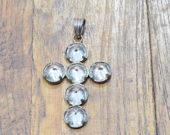 Cross Brass Faceted Crystal Cross Pendant