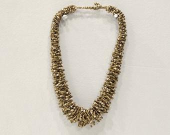 Necklace Indonesian Beaded Bronze Beige Loop Necklace