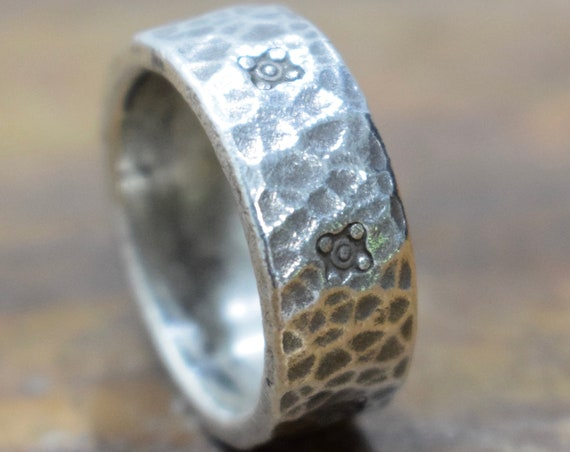 Ring Sterling Silver Hammered Hill Tribe Band Ring