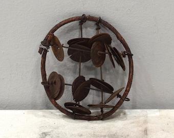 African Tambourine Shaker Rattele Bottle Caps Tambourine