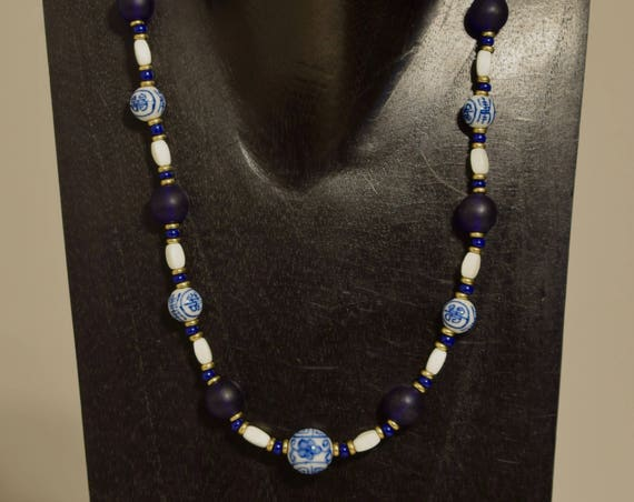 Necklace Chinese Blue White Procelain Blue Glass Beaded Handmade Chinese Jewelry Necklace