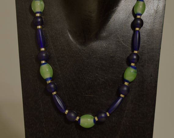Necklace Green Opulence Glass Dark Blue Glass Sophisticated Handcrafted Suit Jewelry Necklace