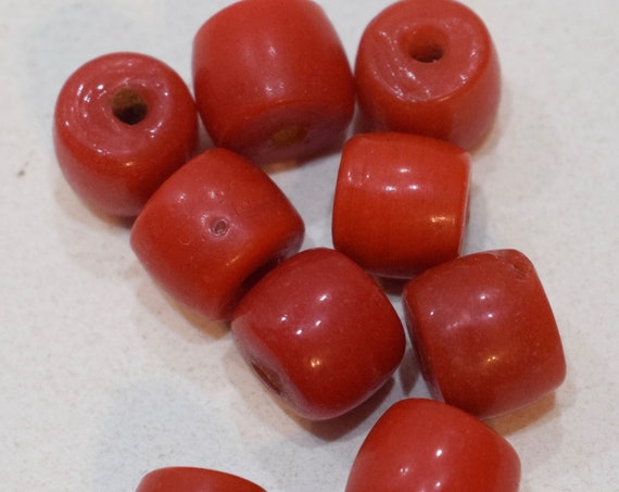 Beads Chinese Red Glass Cube Beads 14mm - 15mm