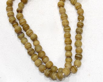 Beads African Old Beige Stripe  Glass Beads 8-9mm
