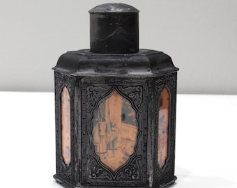 """Chinese Painted Glass Tea Caddy 7.5"""""""