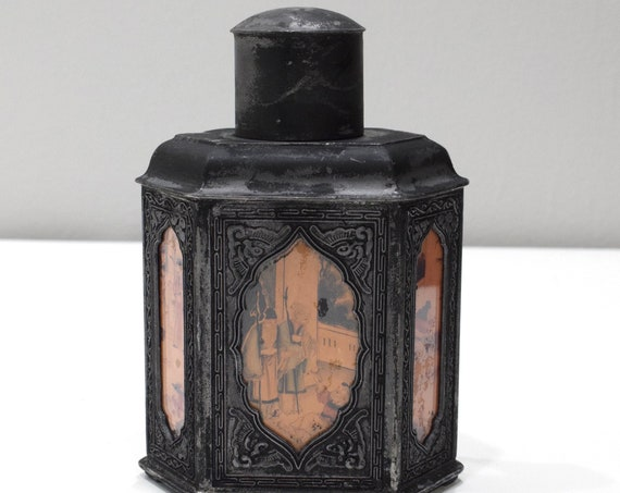 Chinese Painted Glass Tea Caddy 7.5""