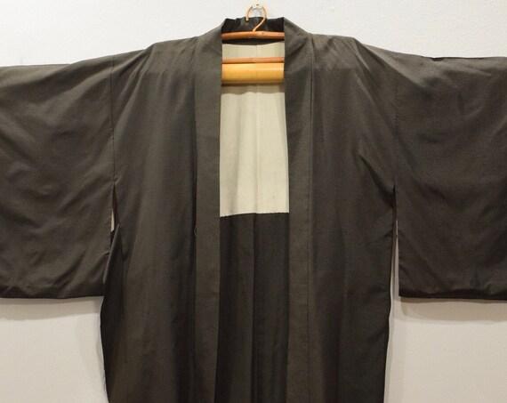 Kimono Japanese Brown Fleck Silk Kimono