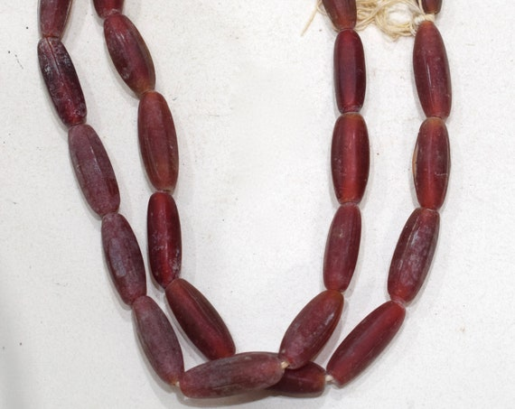 Beads African Old Red Glass Tube Beads 24-25mm
