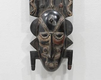 African Mask Wood Crest Baule Tribe Mask