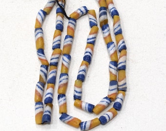 Beads African Yellow Blue Sand Cast Beads 15mm