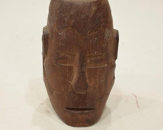 Papua New Guinea Head Wood Skull Head Iatmul Ceremonial Carved Head