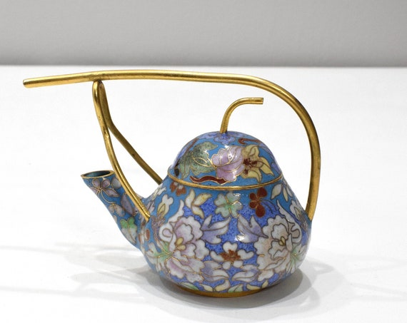 Chinese Chinese Turquoise Cloisonne Teapot 5.5""