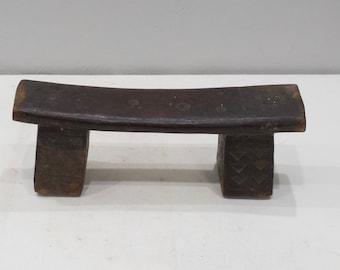 African Zulu Wood Carved Mens Headrest