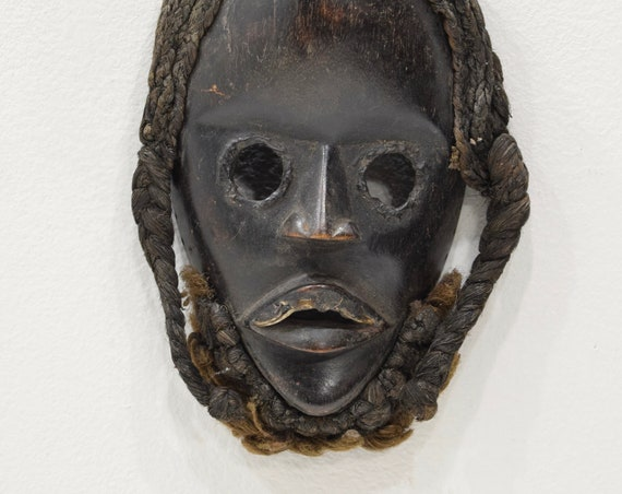 Africa Mask Dan Carved Wood Burnished Metal Teeth Eyes Dan Mask