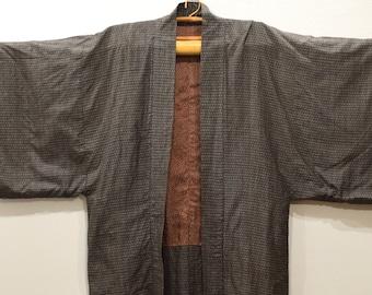 Kimono Japanese Brown Check Kimono