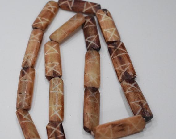 Beads Philippine Assorted Bone Flat Tubes 28-30mm