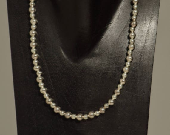 Necklace Short Bright Silver Beads Handmade Silver Round Beads Simple Elegant Beaded Necklace
