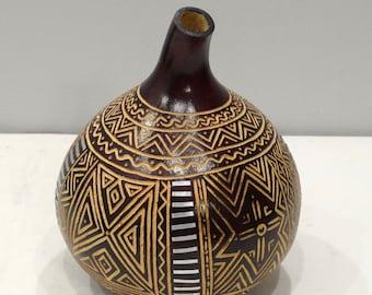 Gourd African Metal Etched Geometric Design Gourd Tanzania