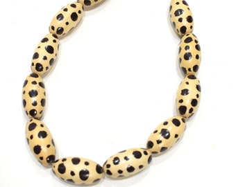 Beads Philippine Painted Wood Leopard Beads
