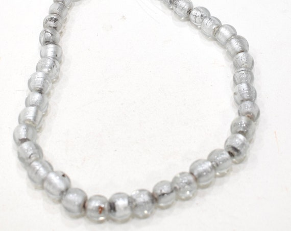Beads Clear Silver Leaf Round Glass Beads 12mm