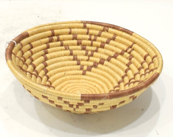 African Basket Botswana Natural Woven Palm Basket