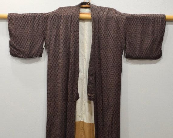 Kimono Japanese Brown Ikat Long Kimono