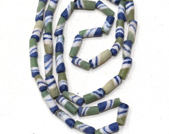 Beads African Green Blue Sand Cast Beads 15-16mm