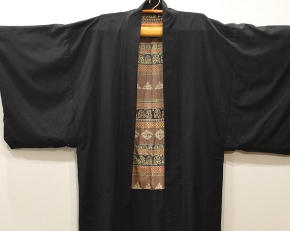 Kimono Japanese Black Silk Kimono