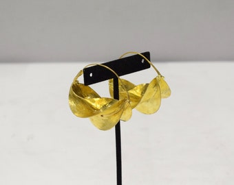 Earrings African Fulani Brushed Gold Brass Earrings