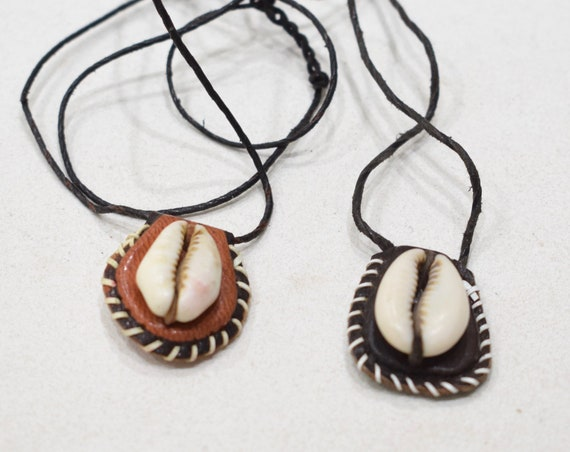 African Assorted Leather Cowrie Shell Necklaces 20""