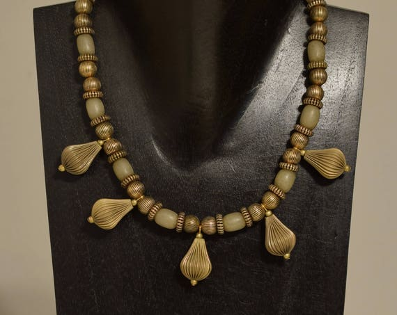 Necklace Raw Brass Pendant Buri Nut Gold Beaded Necklace