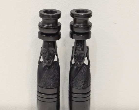 African Candle Holders Pair Ebony Wood Male Female Tanzania