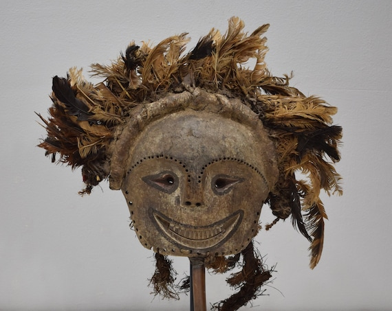 African Mask Tabwa Diviners Feather Mask Zaire