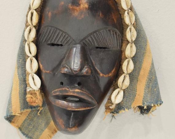 Africa Mask Dan Carved Wood Burnished Cloth Cowrie Shells Dan Mask