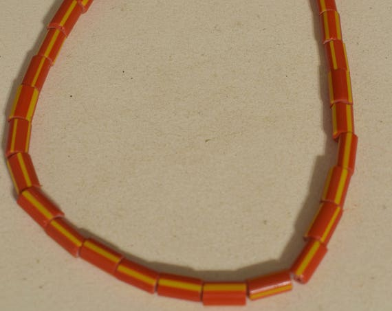 Beads Red Yellow Stripped Glass Beads 12mm