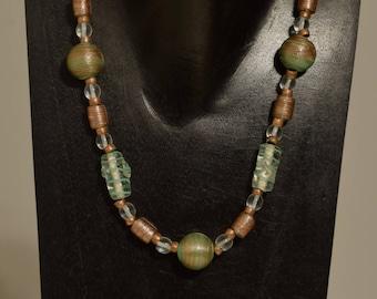 Necklace Czechoslovakian Iridescent Bronze and Green Glass Green Swirl Beads Copper Beaded Handmade Beaded Glass Necklace Jewelry