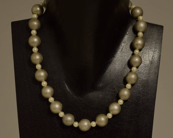 Necklace Choker Brushed Silver Pearl Beaded Handmade Silver Necklace  Jewelry