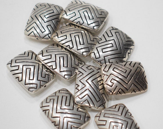 Beads Silver Ornate Etched Pattern Pillow Beads 24mm
