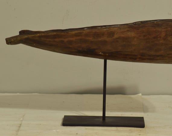 Papua New Guinea Canoe Crocodille Prow Iatmul Wood Ancestor Crocodile Canoe Prow