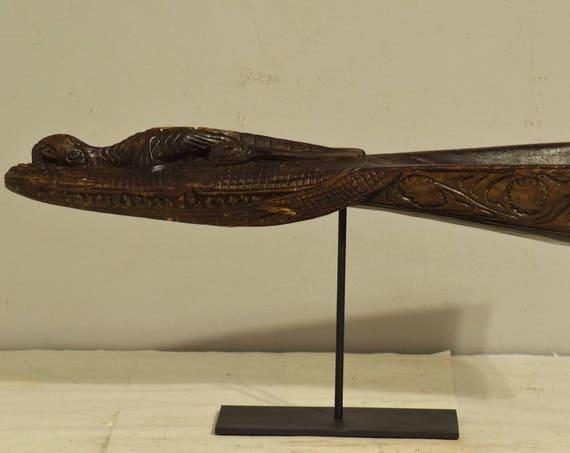 Papua New Guinea Canoe Crocodile Prow Iatmul Wood Ancestral Crocodile Canoe Prow
