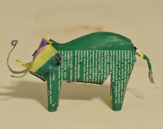 Toy Elephant African Recycle Mulit Color Tin Can Tanzania Handmade Vintage Toy Elephant Animals Recycled Tin Unique One of a Kind