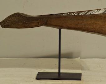 Papua New Guinea Canoe Crocodile Iatmul Wood Ancestor Crocodile Canoe Prow