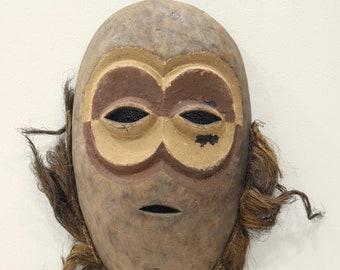 "African Mask Lega Bearded Wood Mask DRC 20"""
