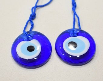 Evil Eye Glass Blue Charm Protection Amulet Lot of 2