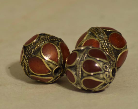 Beads Middle Eastern Red Stone Round  Brass Round Beads Handmade Handcrafted Red Necklaces  Crafts Jewelry Red  Beads