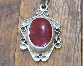 Pendant Sterling Silver Red Resin Stone Pendant