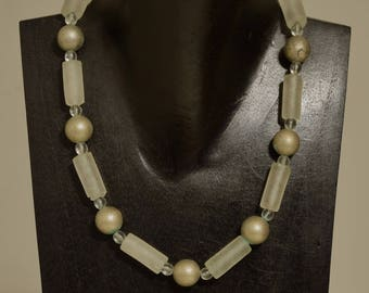 Necklace Choker Brushed Silver Frosted Glass Beaded Handmade Glass Beaded Necklace Jewelry