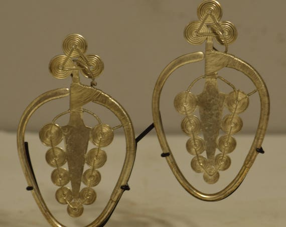 Earrings Silver Miao/Hmong Tribal Handmade Silver  Ceremonial Earrings