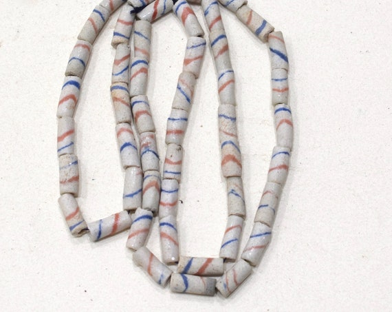Beads African White Sand Cast Tube Beads 13-15mm